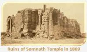 SOMNATH TEMPLE - THE POWER OF CREATION OVER THE POWER OF DESTRUCTION. A PHOTO IMAGE OF SOMNATH TEMPLE IN 1869.