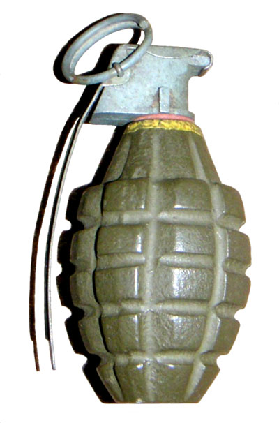 American made High-Explosive Fragmentation Mark II Hand Grenade. Pakistan's Army uses this type of hand grenades. During the Indo-Pak War of 1971, I had collected two such hand grenades at the enemy post that we had captured. I had removed the Detonator to safely handle the grenade. I took them home and presented them to my father as a piece of evidence to support my claim that I had actually participated in the War. My father was afraid to keep my evidence. The Grenades were buried in Alcott Gardens, Rajahmundry.