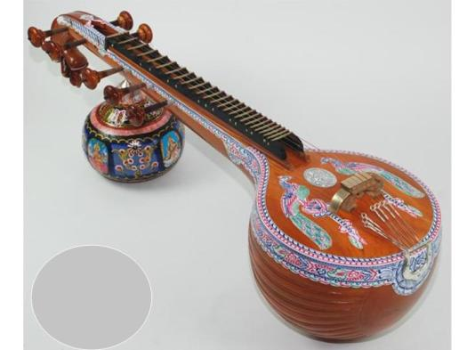 'VEENA', stringed musical instrument, native to South India.