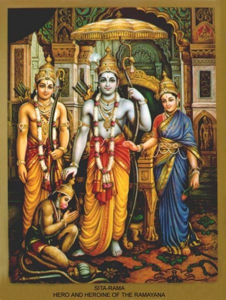 Lord Rama with Seetha, Lakshmana, and Hanuman-The Land of Karma