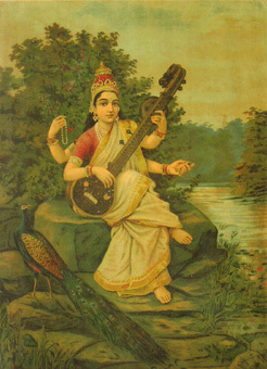 Sarasvati - The Goddess of Wisdom and Perfect Knowledge, the Goddess of Speech or Vaak presides over the Broca's Area, the Speech Center of the Brain.
