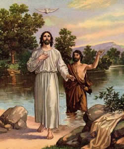 "The Baptism of the sinless Man. From that time on Jesus began to preach, ""REPENT, FOR THE KINGDOM OF HEAVEN IS NEAR."" - Gospel of Matthew,Chapter 4, verse 17."