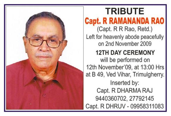 TRIBUTE TO CAPTAIN. R. R. RAO