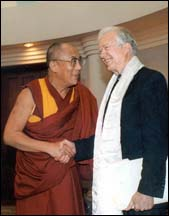 NOBLE PEACE PRIZE 2002. US President Jimmy Carter maintained a friendly relationship with the Tibetan Leader since 1979.