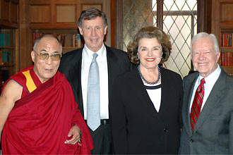 US-TIBET RELATIONS: It is very surprising to read the essay published by President Jimmy Carter's National Security Adviser on the US - China relations. He makes no mention of this apparent US - Tibet relations. His Holiness the 14th Dalai Lama is seen with Richard Blum, his wife, US Senator Dianne Feinstein, and former President Jimmy Carter.