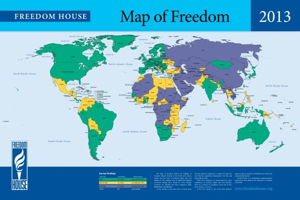 FREEDOM HOUSE'S FREEDOM IN THE WORLD MAP: I lived in India since my birth and I left India during 1984 due to a concern about my Freedom. I had reached the United States during 1986 to discover that I have lost all Freedom.