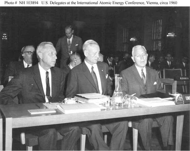Whole Dude-Whole Master: U.S. delegates to the Fourth General Conference of the International Atomic Energy Agency, Vienna, Austria 1960. Left to Right:- Ambassador John S. Graham, Vice Admiral Paul F. Foster, US Navy(Retd), the Permanent U.S. Representative to the IAEA, and John A. McCone, Chairman of the U.S. Atomic Energy Commission.