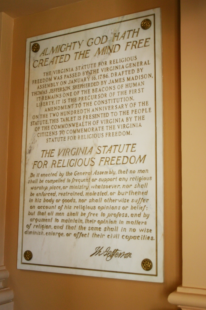 """Whole Dude - Whole Declaration: Jefferson was passionate in his commitment to intellectual freedom. He had authored the Statute of Virginia for Religious Freedom. He stated, """"I have sworn upon the altar of God eternal hostility against every form of tyranny over the mind of man."""""""