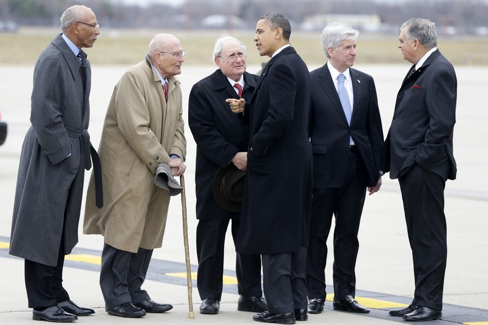 Whole Dude - Whole Representative: Representative John Dingell, US Senator Carl Levin receiving US President Barack Obama during his visit to Detroit, Michigan. Representative Dingell continued his support of President Obama's administration to give encouragement and support to the Tibetan people aspiring for Freedom, Democracy, Peace, and Justice in the occupied Land of Tibet.