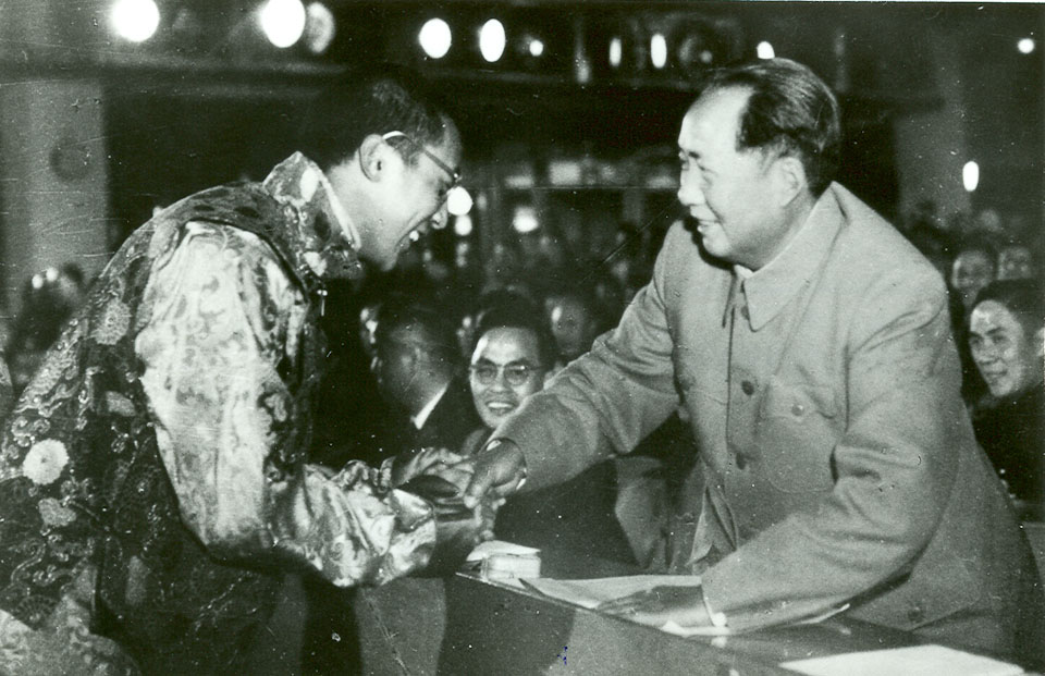 The history of Special Frontier Force-Establishment No. 22: The photo image of His Holiness the 14th Dalai Lama in Peking. Tibet tried its very best to appease the Communist Chairman Mao Tse-Tung until 1954-1955. China took full political, and military advantage of Tibet's isolationism.