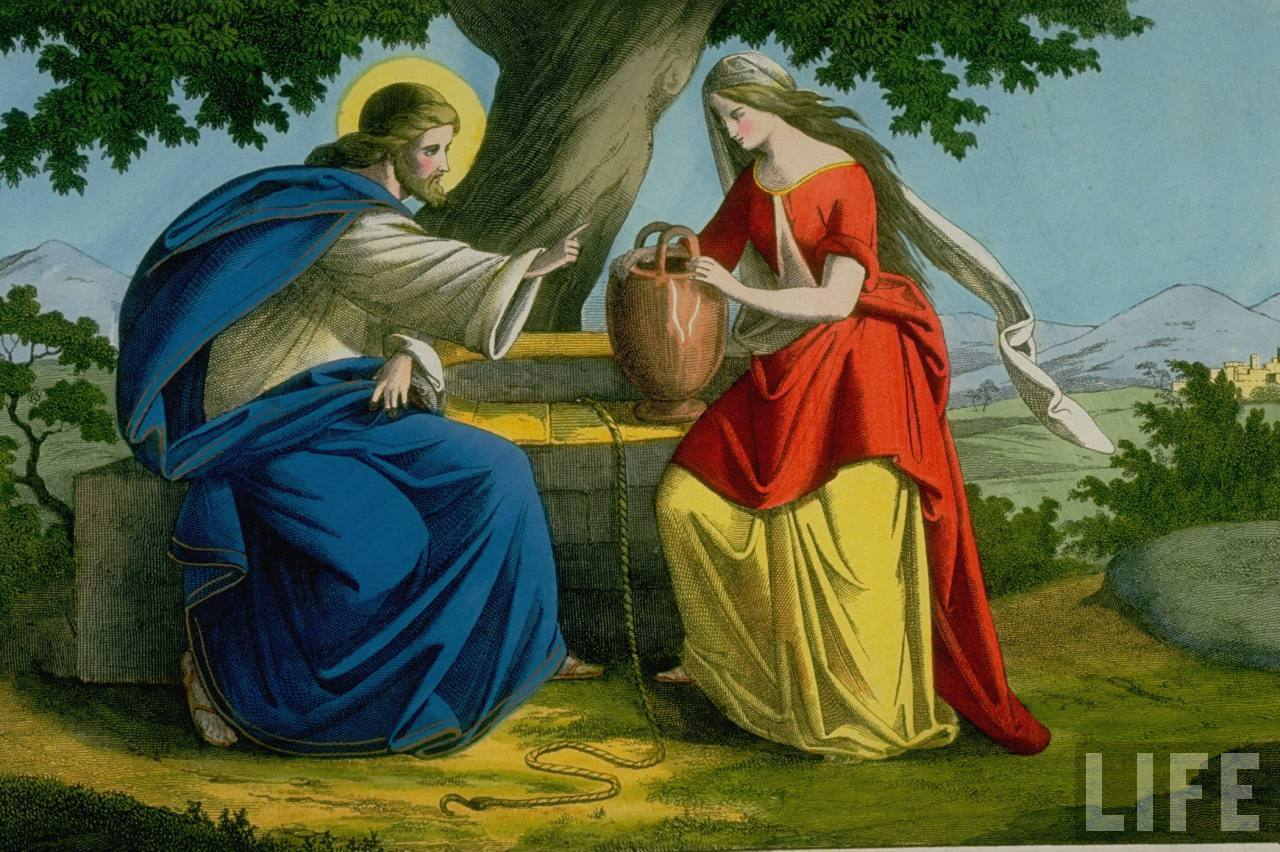 """WholeDude - WholeDesigner - Spirit: The Concept of Living Waters. Jesus talks with a Samaritan woman at Jacob's Well near the village of Sychar. Apparently, Jesus was thirsty like any other human being and had asked the woman to serve Him water and carefully explained as to how the physical matter or substance called water can become the """"Living Waters"""" in both physical Life and Spiritual Life."""