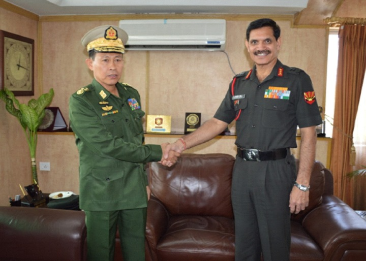 Special Frontier Force - China's Military Threat: The Deputy Commander-in-Chief, Myanmar Defence Service and Commander-in-Chief, Myanmar Army Vice Senior General Soe Win visited the Indian Army Eastern Command Headquarters in Fort William, Kolkata on December 10, 2013. He is seen with Eastern Army Commander Lieutenant General Dalbir Singh Suhag who served as the Inspector General Special Frontier Force from April 2009 to March 2011.