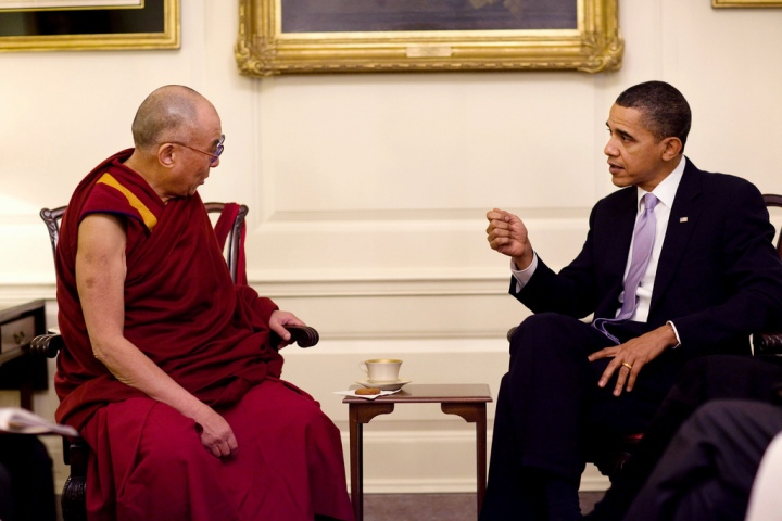 SPECIAL FRONTIER FORCE AT THE WHITE HOUSE: His Holiness the 14th Dalai Lama speaking with US President Barack Obama during their meeting in the Map Room of The White House, Washington, DC on February 18, 2010.