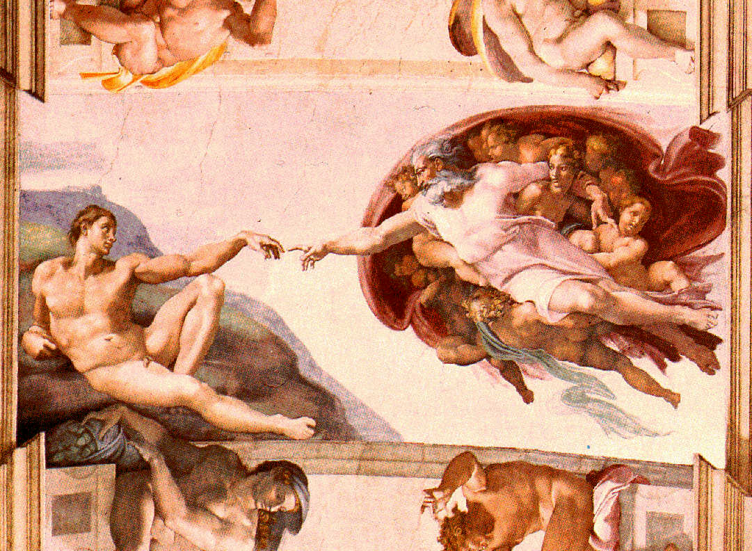 SPIRITUALITY SCIENCE - THE STATUS OF MAN: THE EVIDENCE OF PRECISION GRIP.  MICHELANGELO BUONARROTI(1475-1564), ITALIAN SCULPTOR AND PAINTER WORKED ON THE CEILING OF THE SISTINE CHAPEL FROM 1508 TO 1512 TO CREATE THIS VISION OF PRIMORDIAL HUMANITY FOR WHICH THERE IS NO PHYSICAL BASIS IN THE ENVIRONMENT OF HIS LIFETIME. THIS IS THE EVIDENCE FOR A HUMAN ARTIST. IT DEMONSTRATES THE USE OF PRECISION GRIP, THE HUMAN HAND THAT GRASPED THE PAINTING BRUSH THAT CAN DRAW OBJECTS WITOUT DIRECT EXPERIENCE OF SUCH OBJECTS.