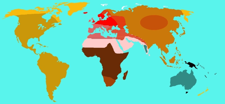 SPIRITUALITY SCIENCE - HUMAN EVOLUTION: THOMAS HUXLEY DURING 1870 DESCRIBED THE GEOGRAPHICAL DISTRIBUTION OF VARIOUS RACIAL VARIETIES. JOHANN FRIEDRICH BLUMENBACH(1775/76) DIVIDED MANKIND INTO FIVE GREAT FAMILIES - CAUCASIAN, MONGOLIAN, MALAYAN, ETHIOPIAN, AND AMERICAN.