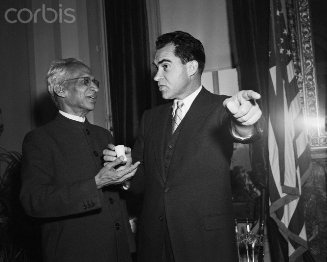 SPECIAL FRONTIER FORCE CONFIRMS NIXON'S VIETNAM TREASON: 17 NOVEMBER  1954, WASHINGTON, DC USA. INDIAN VICE PRESIDENT DR SARVEPALLI RADHAKRISHNAN AND RICHARD M NIXON, THE US VICE PRESIDENT BRING INDIA, TIBET, AND THE US TOGETHER TO ADDRESS THE MILITARY THREAT POSED BY COMMUNIST CHINA'S MILITARY OCCUPATION OF TIBET.