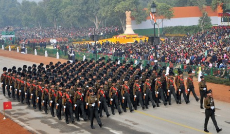 """THE ART OF SELF-DISCIPLINE : """"KRAMA SIKSHA"""" THE INSTRUCTION TO IMPART PHYSICAL AND MENTAL DISCIPLINE HAS A PHYSIOLOGICAL BASIS AS A PART OF HUMAN BRAIN FUNCTIONS LIKE SPIRIT OR SOUL TO CONTROL, TO GUIDE, AND TO REGULATE INTELLECT, MIND, AND THE SENSES . THIS IS THE IMAGE OF THE MADRAS REGIMENT TAKING PART IN 65th REPUBLIC DAY PARADE IN NEW DELHI, INDIA."""