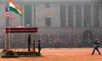 U.S. President Barack Obama looks out from a viewing stand during an arrival ceremony at Rashtrapati Bhavan, the presidential palace, in New Delhi, India, Sunday, Jan. 25, 2015. (AP Photo/Carolyn Kaster)