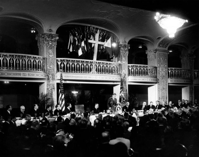 SPECIAL FRONTIER FORCE AT NATIONAL PRAYER BREAKFAST : US PRESIDENT JOHN F. KENNEDY ADDRESSING THE GATHERING AT PRESIDENTIAL PRAYER BREAKFAST ON THURSDAY, FEBRUARY 09, 1961.