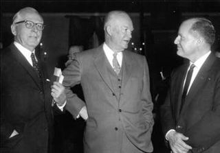 SPECIAL FRONTIER FORCE AT NATIONAL PRAYER BREAKFAST : IN 1953, 34th US PRESIDENT(1953-1961), DWIGHT DAVID EISENHOWER WAS INVITED AS THE CHIEF GUEST SPEAKER FOR A PRAYER BREAKFAST MEETING WHICH GOT THE NAME PRESIDENTIAL PRAYER BREAKFAST . ABRAHAM VEREIDE WITH PRESIDENT EISENHOWER.