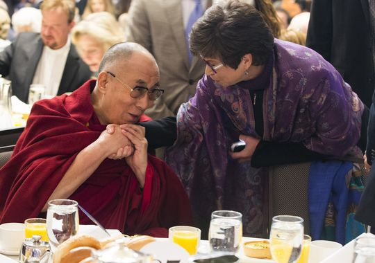 SPECIAL FRONTIER FORCE AT NATIONAL PRAYER BREAKFAST : HIS HOLINESS THE 14TH DALAI LAMA, THE EXILED TIBETAN LEADER WITH MS. VALERIE JARRETT, SENIOR ADVISER TO PRESIDENT BARACK OBAMA AT NATIONAL PRAYER BREAKFAST HELD AT WASHINGTON HILTON ON THURSDAY FEBRUARY 05, 2015.