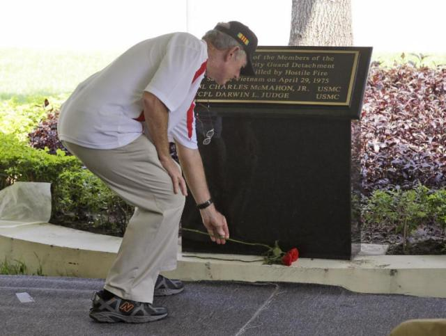 THE  EVIL  RED  EMPIRE  -  THE  FALL  OF  SAIGON  -  TRIBUTE  TO  FALLEN  COMRADES  CORPORAL  CHARLES McMAHON,  AND  LANCE CORPORAL DARWIN  JUDGE  THE  LAST  US  SERVICEMEN  KILLED  IN  THE  VIETNAM  WAR  AT  THE  OLD  US  EMBASSY  NOW  US  CONSULATE  IN  HO  CHI  MINH  CITY .