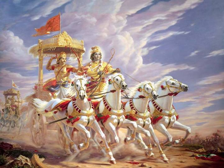 BHARAT DARSHAN - BHAGAVAN VED VYAS - AUTHOR OF GEETOPANISHAD. PRINCE ARJUNA IS THE MASTER(SOUL), LORD KRISHNA, CHARIOTEER(BUDDHI/INTELLECT), REINS(MIND), HORSES(SENSE ORGANS), CHARIOT(BODY), AND THE ROAD REPRESENTS PURSUIT TO REACH GOAL.