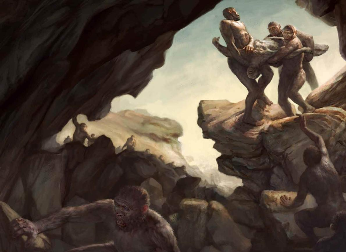 THE DISCOVERY OF HOMO NALEDI. ARTISTIC DEPICTION OF HOMININS BURYING THEIR DEAD.