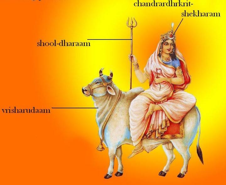 BHARAT DARSHAN - DEVI NAVRATRI - GOD AS MALE AND FEMALE - FIRST DAY OF NAVRATRI IS CALLED PRATIPADA. DEDICATED TO GODDESS SHAILAPUTRI, DAUGHTER OF RULER OF MOUNTAINS. SHE IS ALSO KNOWN AS PARVATI, HEMAVATI, SATI BHAVANI AND OTHERS.