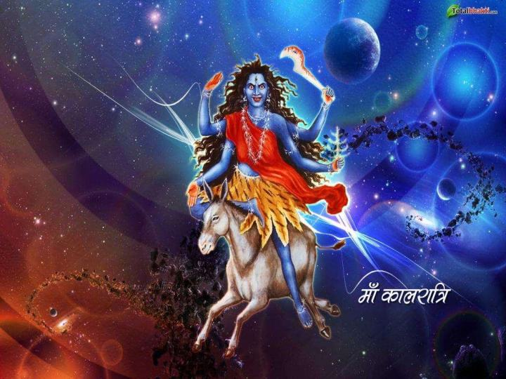 BHARAT DARSHAN - DEVI NAVRATRI - GOD AS MALE AND FEMALE. GODDESS OF SEVENTH DAY OR SAPTAMI IS KNOWN AS KALRATRI(BLACK OR DARK NIGHT), AND SUBHANKARI FOR SHE GIVES PROTECTION FROM TROUBLE.
