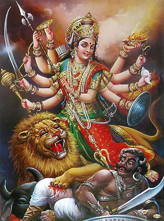 "BHARAT DARSHAN - DEVI NAVARATRI - GOD AS MALE AND FEMALE. GOD IS THE SUPREME BEING AND DESCRIBED AS OMNIPOTENT. THIS POTENCY OR POWER IS CALLED 'SHAKTI' IN SANSKRIT LANGUAGE. DEVI IS PERSONIFICATION OF 'SHAKTI'. SHE DISPLAYED THIS GREAT POWER IN SLAYING OF A DEMON KING CALLED ""MAHISHASURA."""