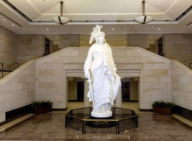 US CONGRESS SLAVE DRIVER - THE 150th ANNIVERSARY OF THE 13th AMENDMENT. THIS STATUE OF FREEDOM BEARS MUTE TESTIMONY TO ACTS OF CONGRESS.