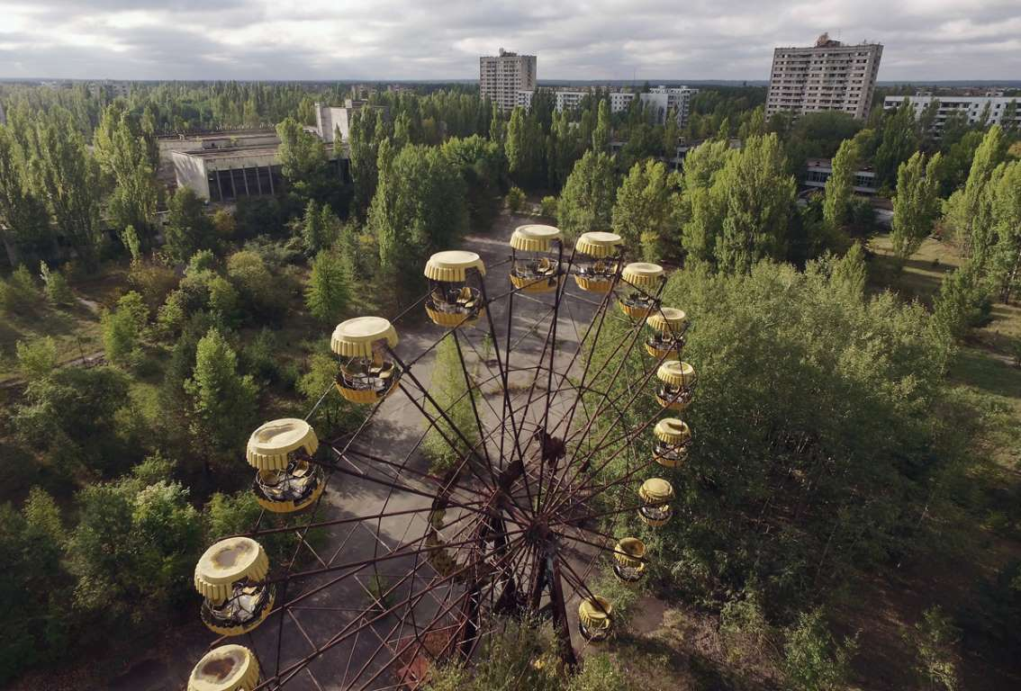 World Remembers 30th Anniversary of Chernobyl Disaster. Abandoned Ferris Wheel in Exclusion Zone, City of Pripyat, Ukraine.