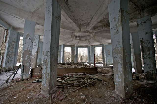 World Remembers 30th Anniversary of Chernobyl Disaster. Abandoned City Hall Building, Pripyat, Ukraine.