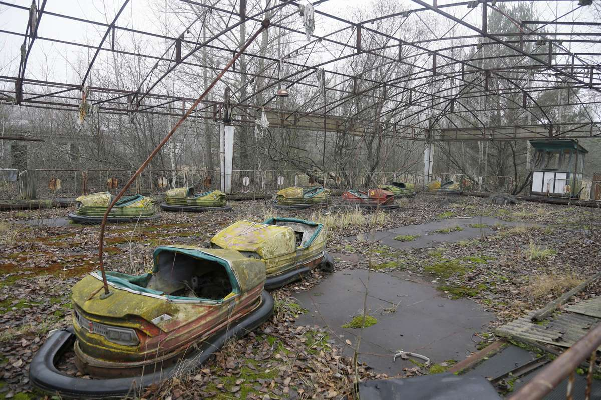 World Remembers 30th Anniversary of Chernobyl Disaster. Abandoned Playground, Pripyat, Ukraine.