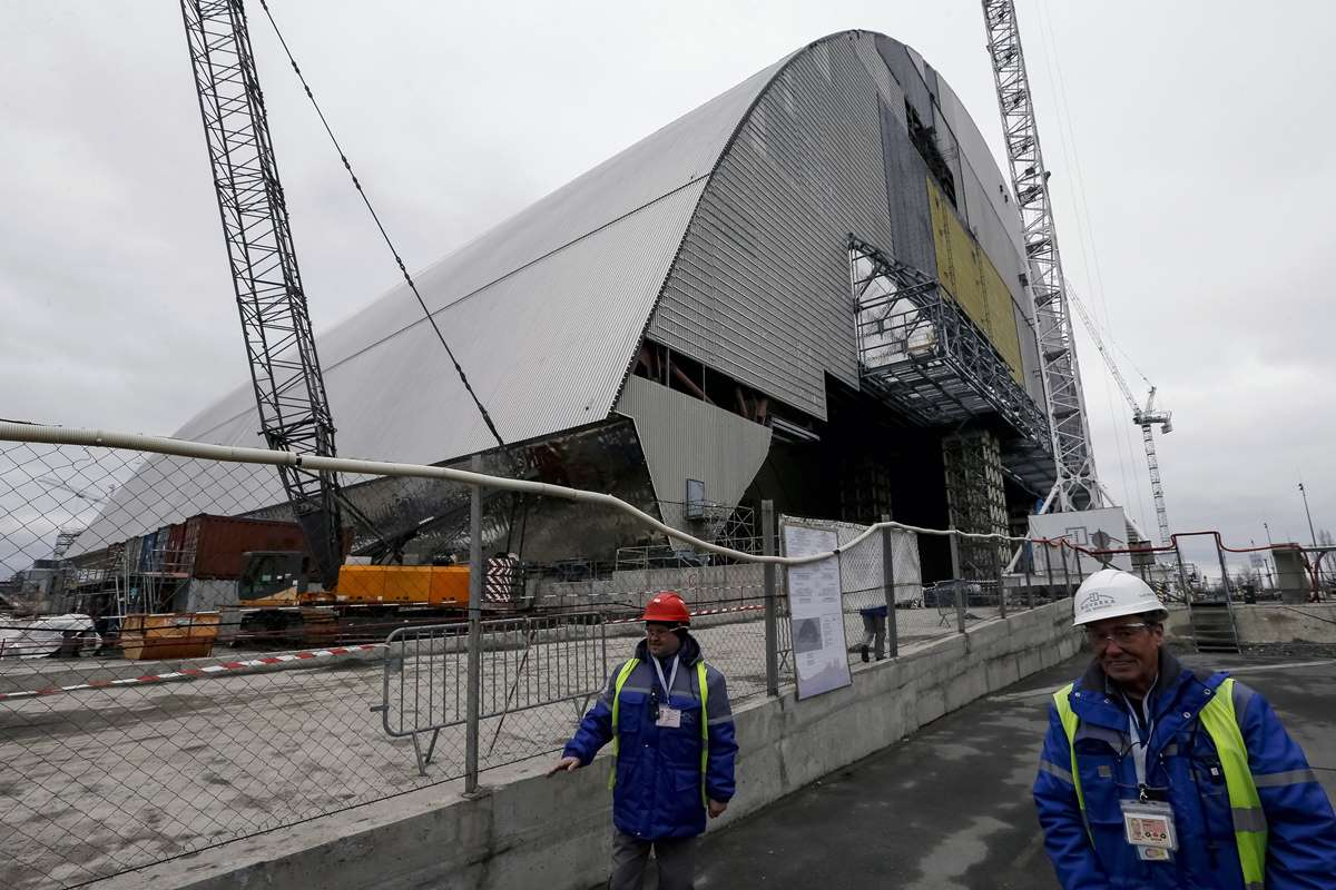 World Remembers 30th Anniversary of Chernobyl Disaster. Construction of new Safe Confinement Structure over Nuclear Reactor 4.