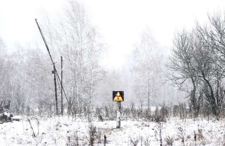 World Remembers 30th Anniversary of Chernobyl Disaster. Radiation Signs posted in Exclusion Zone.