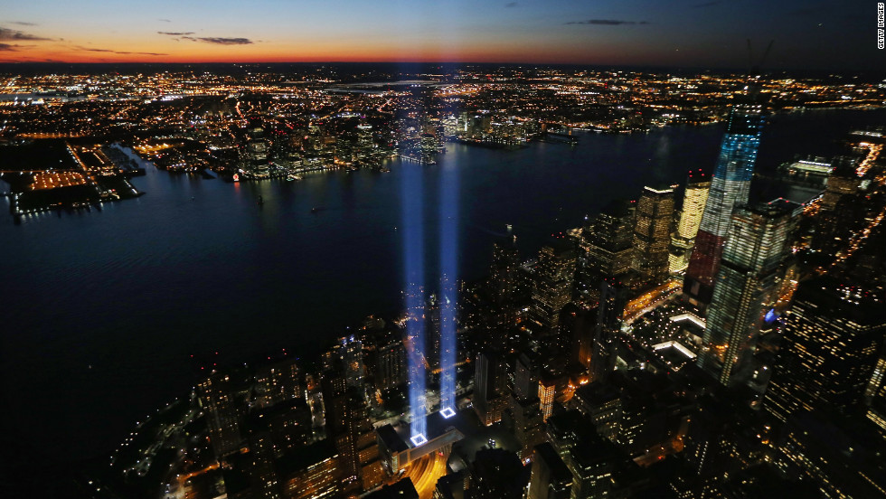 Remembering September 11, 2001. Can Terror Define Man? Ground Zero Memorial, New York City.