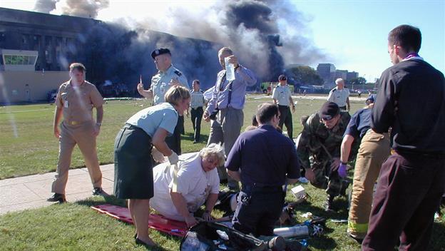 Remembering September 11, 2001. Can Terror Define Man? Scene at Pentagon.